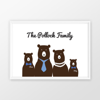 Personalised Bear Family Wall art print in optional white timber deep rebate frame