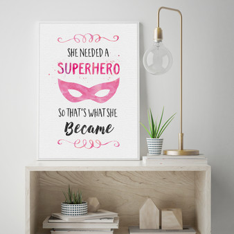 She needed a Superhero watercolour print in optional frame