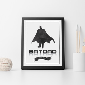 Personalised Bat Dad Print in White