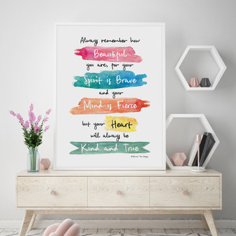 You are Beautiful, Brave and Fierce Wall Art Print in Rainbow, with optional Australian-made white timber frame