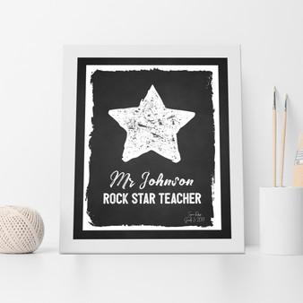 Rock Star Teacher Print in Black.