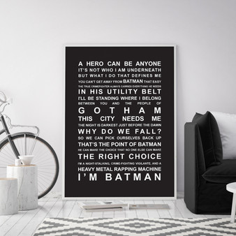 Batman Movie Quotes Print in optional Australian-made white timber frame in Black