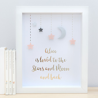 Personalised Loved to the Stars and Moon Gold Foil Paper Art Frame in Blush and Grey