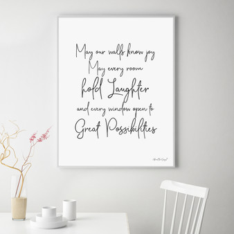 May Our Walls Know Joy Wall Art Print in Modern Font
