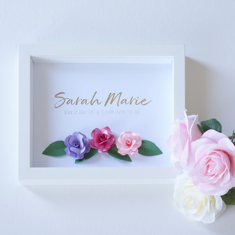 Gold Foil Rose Paper Art Birth Announcement Frame