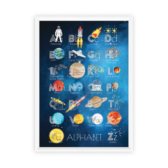 Watercolour Space Alphabet Educational Print with optional white timber frame