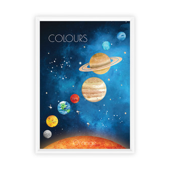 Watercolour Space Colours Educational Print with optional white solid timber frame