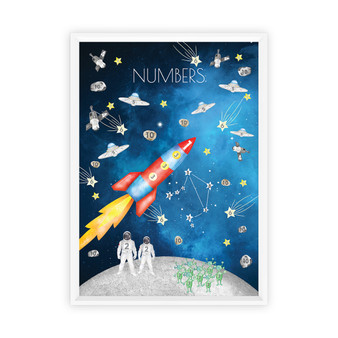 Watercolour Space Numbers Educational Print with optional white solid timber frame