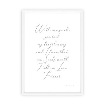 Two Souls in Love Forever Wall Art Print, with optional white timber frame