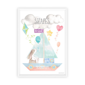 Watercolour Shapes Educational Art Print with optional white timber frame