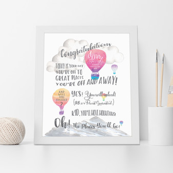 Dr Seuss Graduation Congratulations - Personalised Print in Pink