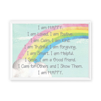 Kids Rainbow Digital  Affirmation Print - Aqua