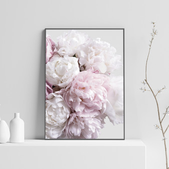 Peony Blush Print with optional black timber frame