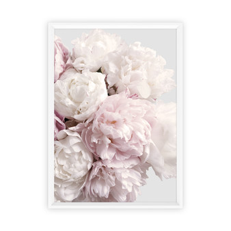 Peony Blush Print with optional white timber frame