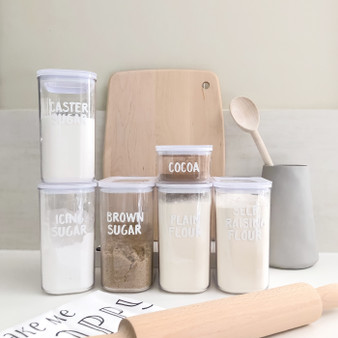 Baking Basics - Home Organisation Pantry Labels Set  in Funky Font in White