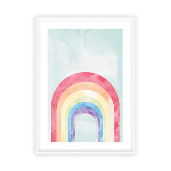Aqua Skies - Abstract Rainbow Watercolour Wall Art Print
