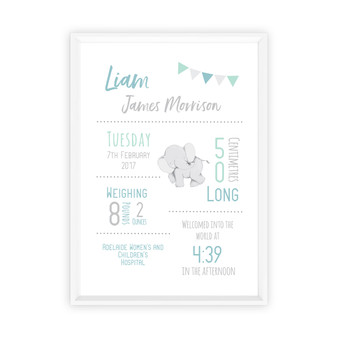 Personalised Elephant Birth Print in Mint, Duck Egg & Grey