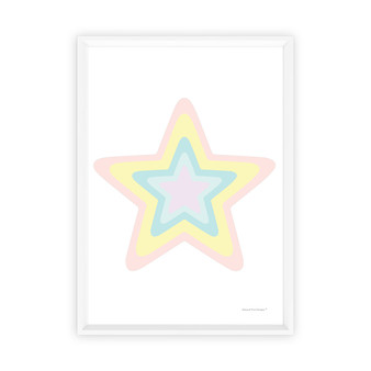 Pink Rainbow Pastel Star - Instant Digital Downloadable Print