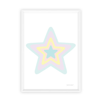 Blue Rainbow Pastel Star - Instant Digital Downloadable Print