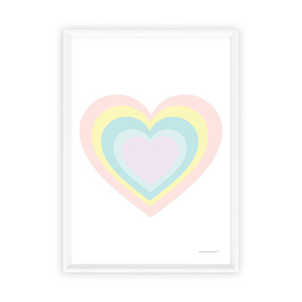 Rainbow Heart (Pastel Pink) - Instant Digital Downloadable Print