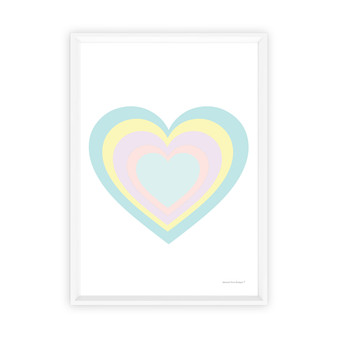 Rainbow Heart (Pastel Blue) - Instant Digital Downloadable Print