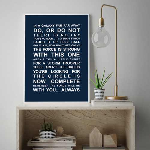b7a4a12f4d5 ... Star Wars Movie Quotes Print in Navy