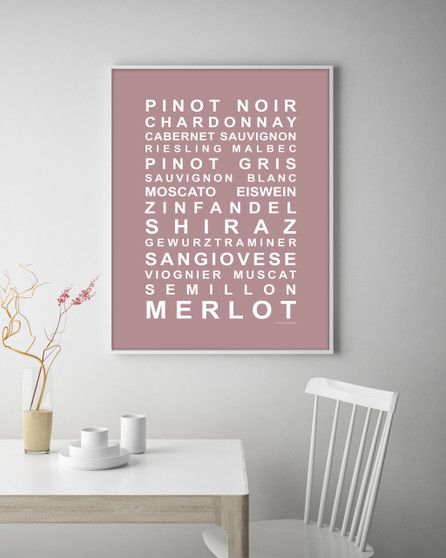 A Nice Drop of Wine Print in Dusky Pink, with optional Australian-made white timber frame