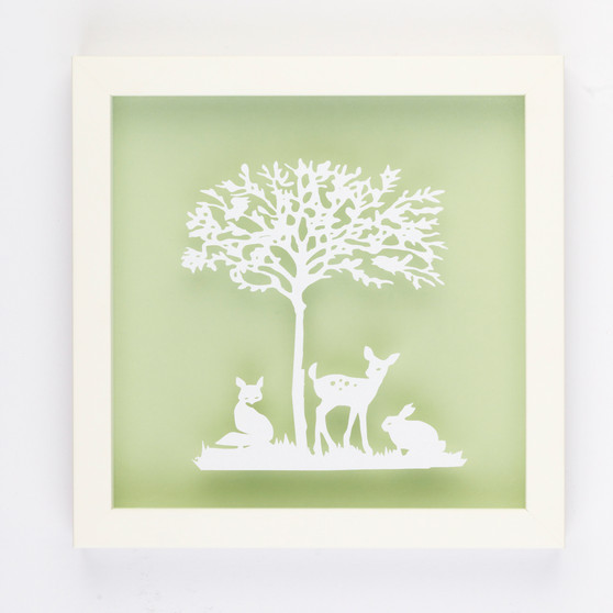 Friends of the Forest Vintage Kids Paper Art Frame in Pistachio Green