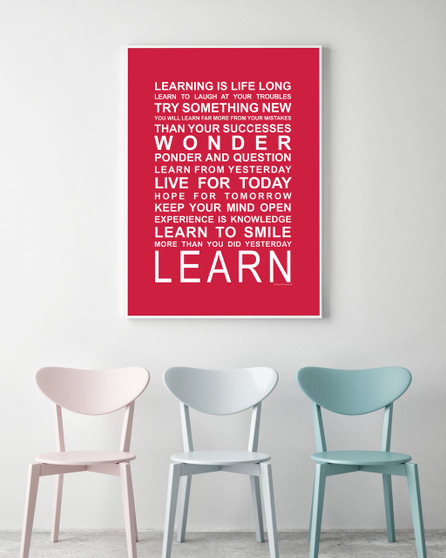 Expressions of your World - Learn Print in Red, with optional Australian-made white timber frame