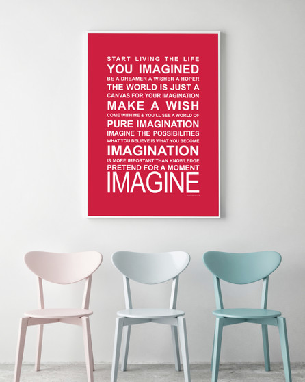 Expressions of your World - Imagine Print in Red, with optional Australian-made white timber frame