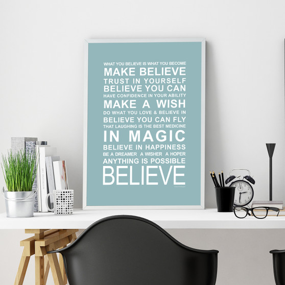 Expressions - Believe Print in Duck Egg, with optional Australian-made white timber frame