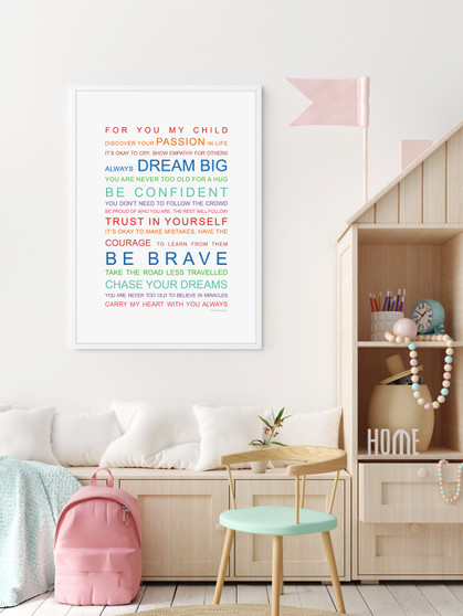 For You My Child print in Rainbow, with optional Australian-made white timber frame