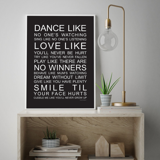 Family Wishes print with optional Australian-made white timber frame in Black