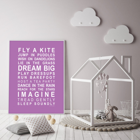 Dreams for your Girl Print in Purple, with optional Australian-made white timber frame
