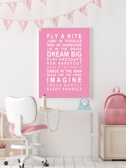 Dreams for your Girl Print in Pink, with optional Australian-made white timber frame