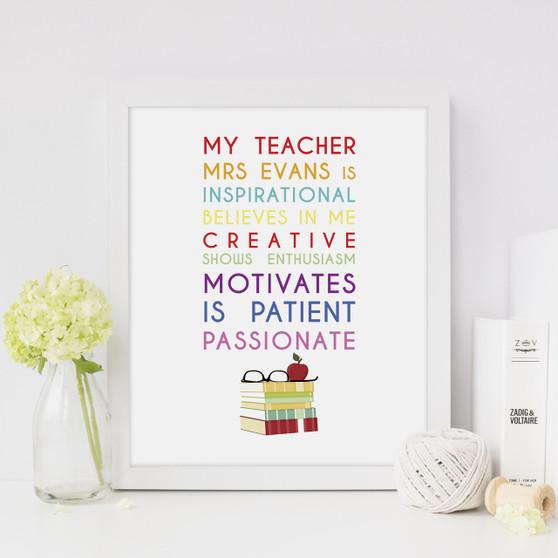 My Teacher Is Personalised Print