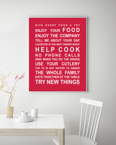 Kitchen Rules Print in Red, with optional Australian-made white timber frame