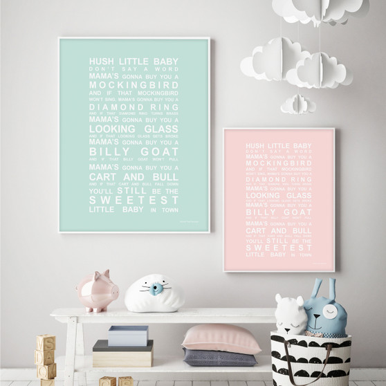 Hush Little Baby Nursery Wall Art Print in Mint and Blush with optional white solid timber frames