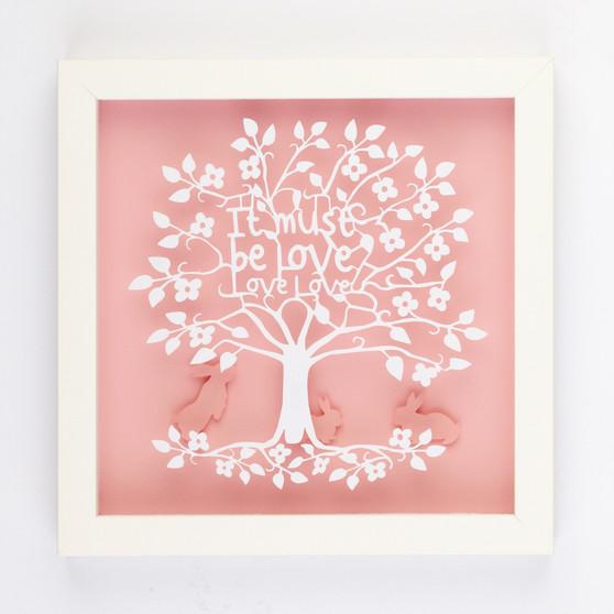 It Must be Love Love Love Silhouette Paper Art Frame