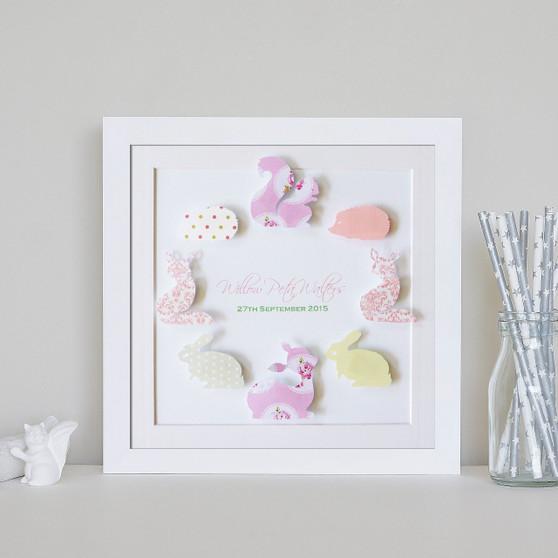 "Personalised 9"" x 9"" Woodlands Paper Art Frame - Circle Design in Rose Garden Colour Scheme"