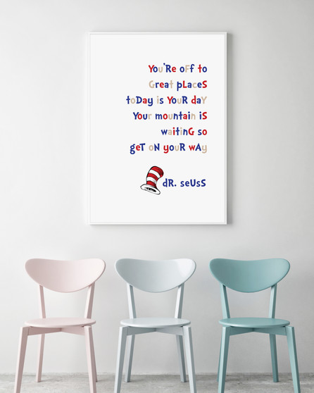 Dr Seuss - Mountain is Waiting - A3 Print in optional Australian-made white timber frame