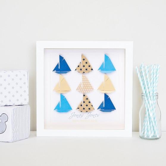 Small Sailing Sensation grid in Blue/Latte