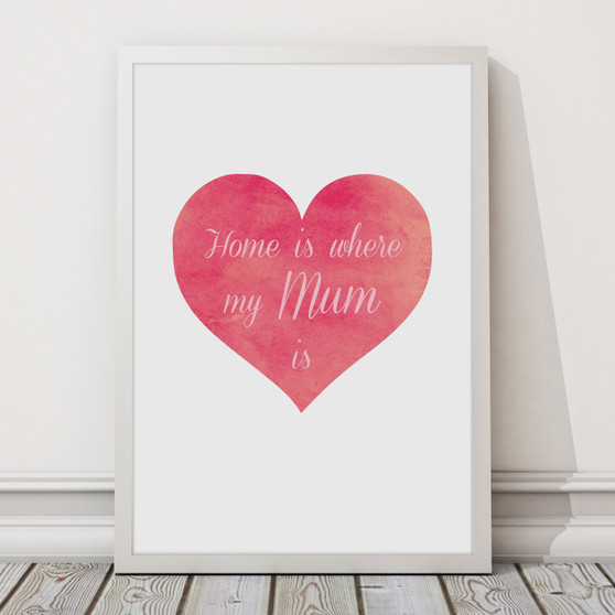 Home Is Where My Mum Is print - A3 size in optional Australian-made white timber frame