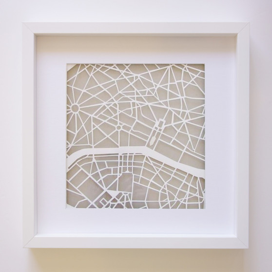Paris Paper Cut Map with optional Australian-made white timber frame