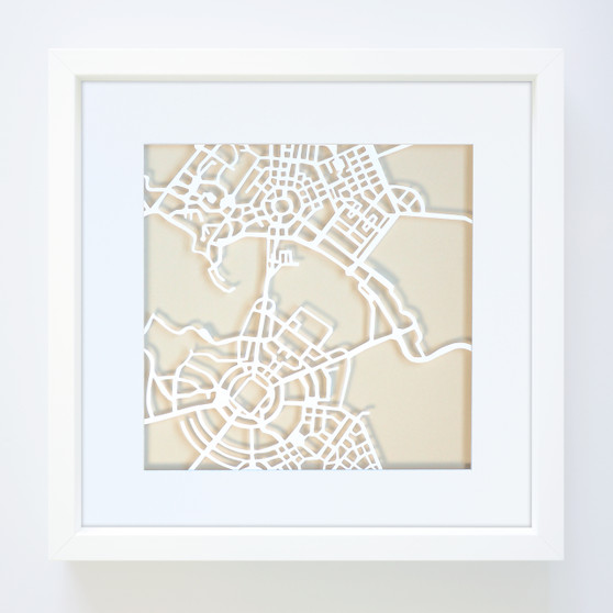 Canberra Paper Cut Map with optional Australian-made white timber frame