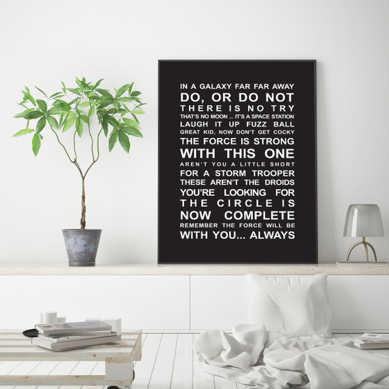 Star Wars Movie Quotes Print in Black, with optional Australian-made white timber frame
