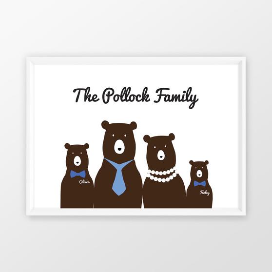 Personalised Bear Family Wall art print in optional white timber deep rebate frame