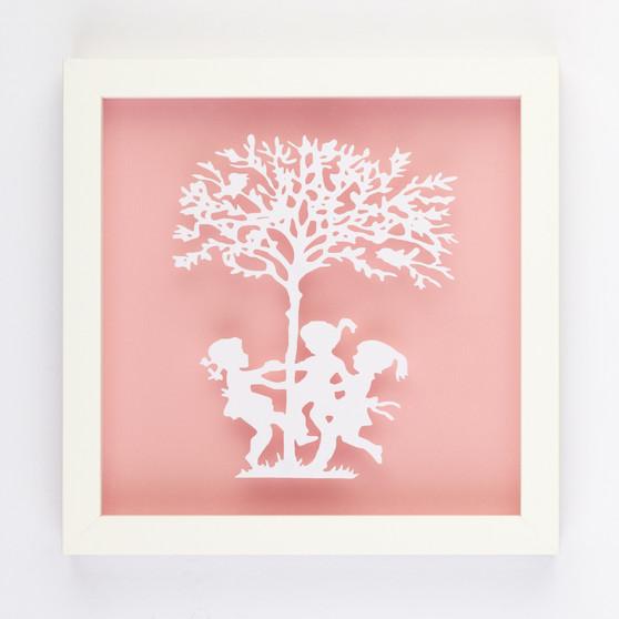 Ring a Rosie Vintage Kids Paper Art Frame in Pink
