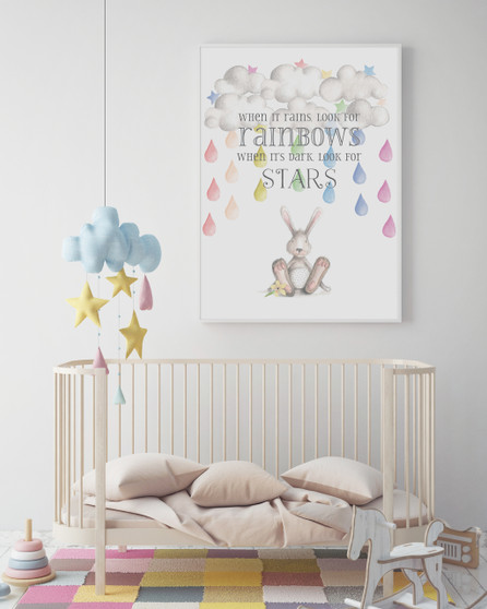 When it Rains Look for Rainbows print in optional Australian made white timber frame