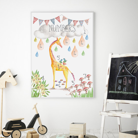 Watercolour Numbers Educational Art Print, with optional Australian made white timber frame
